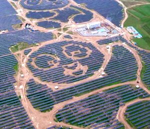 Chinese solar panel farm with Panda