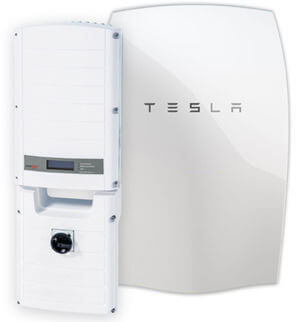PV (Photovoltaic) solar panels with a Tesla battery storage installation.