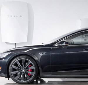 Tomorrow's world with PV solar panels, battery storage and electric vehicle charging.
